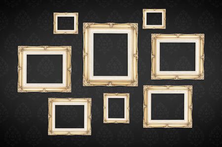 black and white frame: Vintage photo frames with Thai pattern at black background,Template mock up for adding your picture.