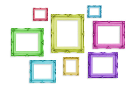 Vintage colorful photo frames isolated on white background,Template mock up for adding your picture. photo