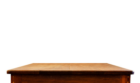 product placement: Empty dark wood table top isolate on white background, Leave space for placement you background,Template mock up for display of product.