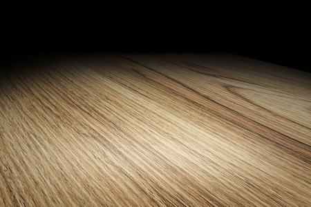 black wood texture: Perspective plain wooden floor fade to black background, Template Mock up for display of product.