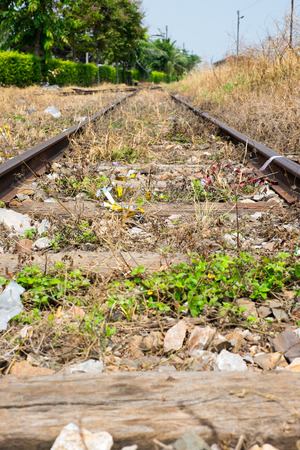 vacant: Vacant Rail way switch track with yellow die grass.. Stock Photo