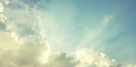 glory: Sun burst at blue sky with cloud Stock Photo