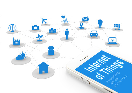 Smart phone with Internet of things (IoT) word and objects icon connecting together,Internet networking concept.
