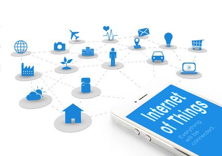 coisa: Telefone esperto com Internet das coisas (IoT) palavra e objetos ícone de conexão juntos, conceito de rede Internet.