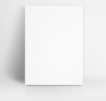 Black White paper poster lean at white studio room,Template mock up for adding your text.