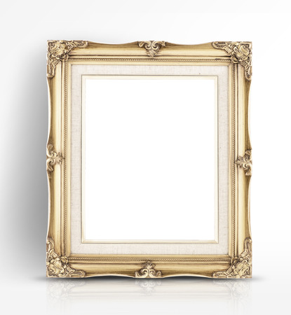 Blank golden vintage photo frame lean at wall in glossy white studio room,Template mock up for adding your content.