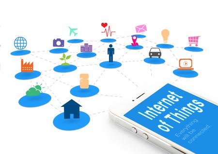 사물의 인터넷과 스마트 폰은 IOT () 단어와 개체 아이콘이 함께 인터넷 네트워킹 개념을 연결합니다.