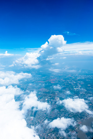 bird eye view: Aerial view landscape of Bangkok city in Thailand with cloud Stock Photo