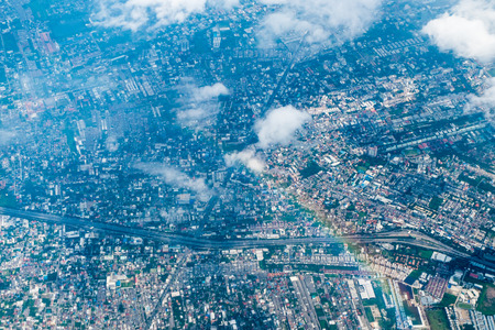 aerial view city: Aerial view landscape of Bangkok city in Thailand with cloud Stock Photo