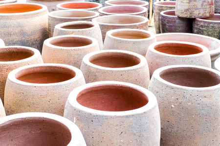 crock pot: Group of earthenware flower pots