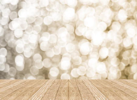 Empty perspective room with sparkling bokeh wall and wooden plank floor,Template mock up for display of your product. 스톡 콘텐츠
