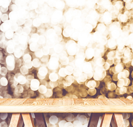 new products: Vintage filter : Empty perspective wooden table with sparkling bokeh wall ,Template mock up for display of your product. Stock Photo