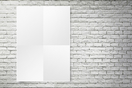 tile wall: Blank folded paper poster hanging on white brick wall,Template mock up for adding your design.
