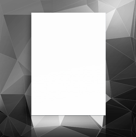 adding: Blank paper poster in black polygons pattern studio room,Template mock up for adding your content.