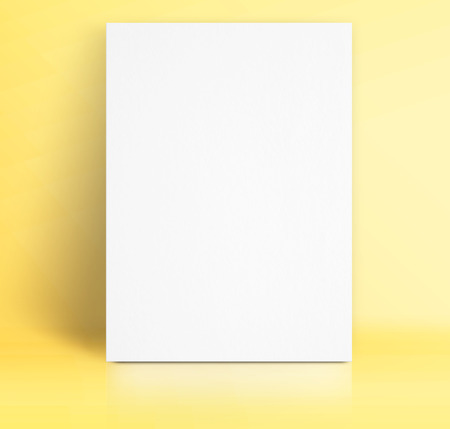 black white paper poster lean at pastel yellow studio room template