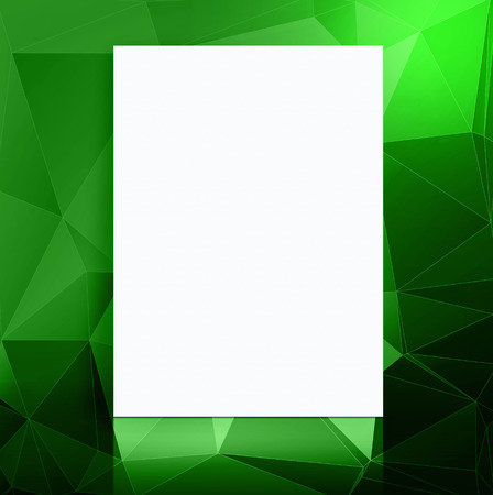 adding: Blank paper poster in green polygons pattern studio room,Template mock up for adding your content.