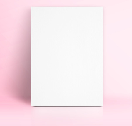 photo studio: Black White paper poster lean at pastel pink color studio room,Template mock up for adding your text