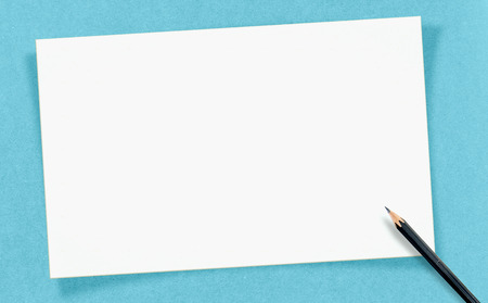 craft paper: Vintage white Blank Card with pencil on craft paper, Mock up for your text.