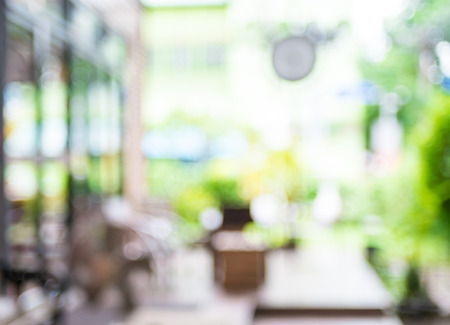 Blurred background : Coffee shop blur background with bokeh. 스톡 콘텐츠