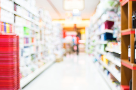 Supermarket store blur background with bokeh. photo