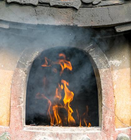 pot hole: fire on furnace,close up fire Stock Photo