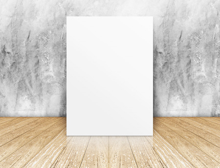 White Blank square Poster in concrete wall and wooden floor room,Template Mock up for your content. photo