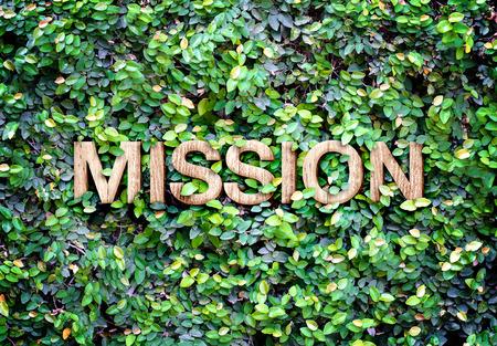 """Eco concept: Houten textuur """"Mission"""" woord pictogram op groene bladeren muur."""