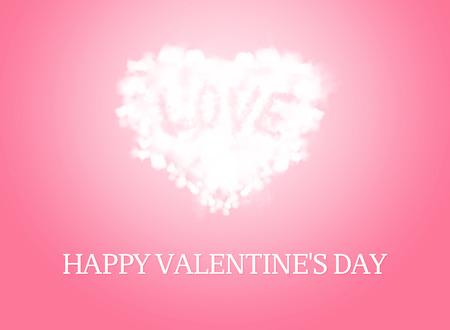 love card: Glowing forma de coraz�n de la nube y la palabra amor est�n flotando. Foto de archivo