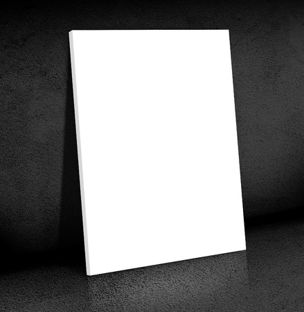canvas on wall: Blank white Canvas poster leaning at black cement room, Mock up for add your content,business presentation template.