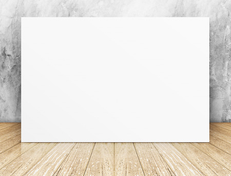 White Blank square Poster in concrete wall and wooden floor room,Template Mock up for your content.