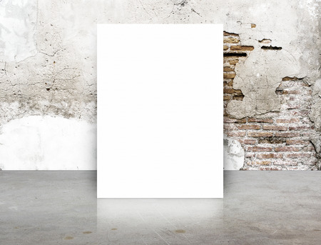up: White Blank Poster in crack brick wall and concrete floor room,Template Mock up for your content.