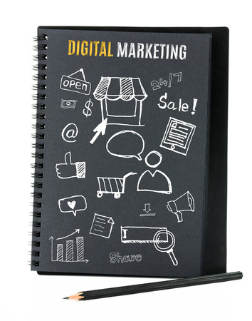 Notebook on desk with icon relate with Digital Marketing, Business concept. photo