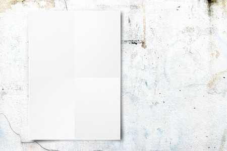 Black White paper poster hanging at concrete wall,Template mock up for adding your text photo