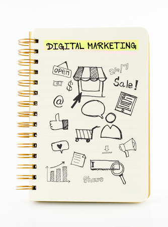 relate: Notebook on desk with icon relate with Digital Marketing, Business concept.