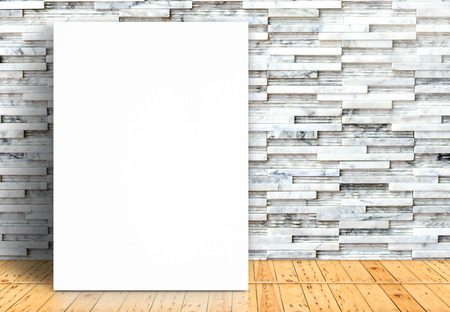 Blank white paper poster on plank wooden floor and pattern marble wall,Template mock up for adding your design. photo