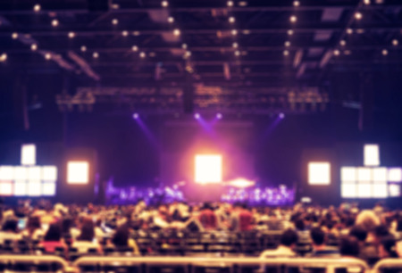lighting background: Blurred background : Bokeh lighting in concert with audience ,Music showbiz concept.