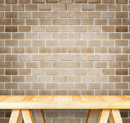 kitchen counter top: Empty wood modern table and grunge brown brick wall in background,Mock up template for display of your product