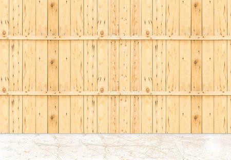 textuur: Lege marmeren vloer en plank houten wand, Template bespotten up voor de weergave van het product.