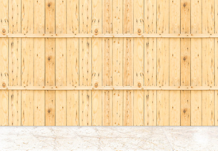 madera: Vaciar suelo de mármol y tablón pared de madera, Plantilla maqueta para la exhibición de productos. Foto de archivo