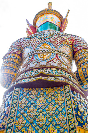Back of Thai traditional giant on white background. photo