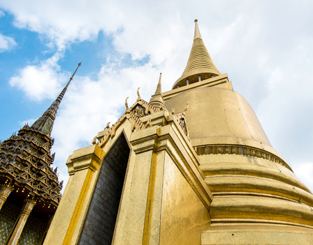 the emerald city: Looking up at gold pagoda Temple of the Emerald Buddha,Grand palace,Bangkok,Thailand.