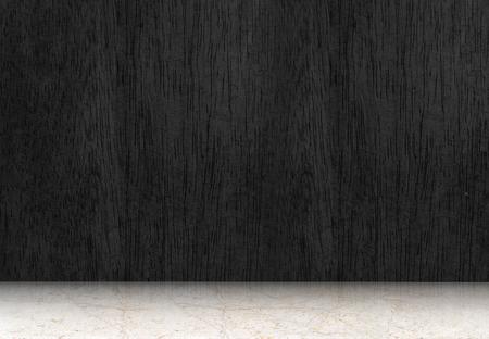 schwarz: Leerer Raum mit schwarzen Holzboden und weißen Marmorboden, Perspektive Raum. Lizenzfreie Bilder