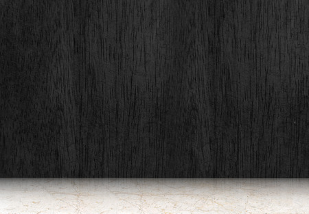 piso piedra: Sitio vac�o con el suelo de madera negro y piso de m�rmol blanco, sala de perspectiva. Foto de archivo