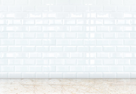 empty perspective room with white ceramic tiles wall and marble floor,Template for adding your content.