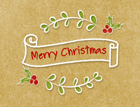 banner craft: Vintage Merry Christmas ribbon banner in doodle style on craft paper.