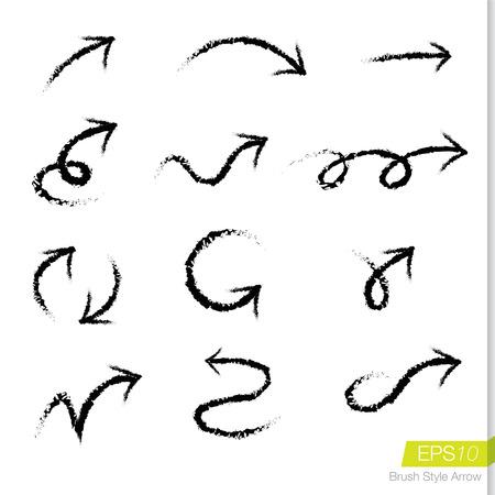 Set of doodle rough bursh arrows, Design element for business presentation. Vectores