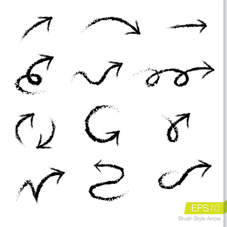 Set of doodle rough bursh arrows, Design element for business presentation. Çizim