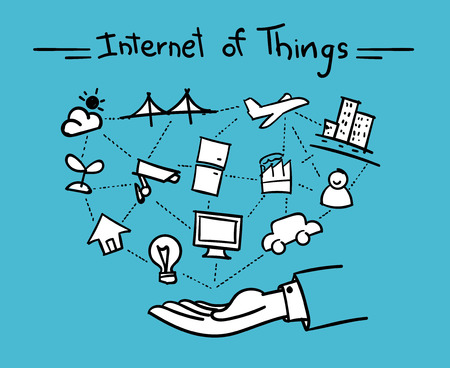 internet concept: Vector : Open hand with things connect each other and internet of things word on top,Hand drawing cartoon style.