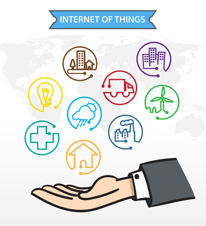 internet icons: Business man Open hand with icon about Internet of things IoT Connection Concept Illustration