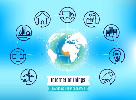 globo mundo: Vector: Infograf�a sobre el Internet de las cosas con el globo en fondo abstracto azul, el concepto de la tecnolog�a. Vectores